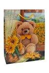 Geschenktasche Bärchen mit Sonnenblumen, 18 x 8 x 23 cm