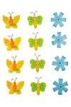 Deko-Aufkleber 'Blume und Schmetterling' aus Holz - 12er Set