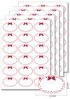 Etiketten oval Roter Rahmen mit Schleife - 5 Blatt A4