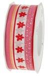 Stoffband  20 m, 40 mm 'Blümchen' pink