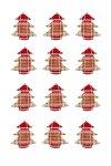 Stoff-Sticker Tanne rot kariert - 12er Pack