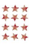Stoff-Sticker Stern rot kariert - 12er Pack