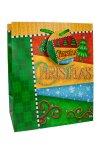 Geschenktasche CHRISTMAS mit grünen Bändern  mittel