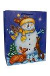 Geschenktasche Schneemann dunkelblau