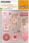 Handgearbeitete 3D-Sticker Süße Herzen in rosé