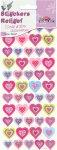 Relief-Sticker Kleine Herzen in pink und silber