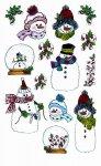 Rubbel-Sticker Schneemänner mit Schneekugel beglimmert