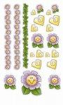 Epoxy-Sticker Fröhliche Blumen mit Bordüre und Herzen