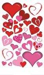 Epoxy-Sticker Sinfonie roter Herzen beglimmert