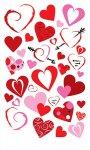 Rubbel-Sticker Sinfonie roter Herzen