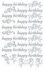 Rubbel-Sticker Happy Birthday mit Rosen silber metallic