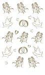 Rubbel-Sticker Hochzeitsglocken, Eheringe und Tauben gold