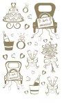 Rubbel-Sticker Frisch verheiratet gold metallic