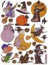 Hologramm-Sticker Halloween - Hexen auf dem Besen